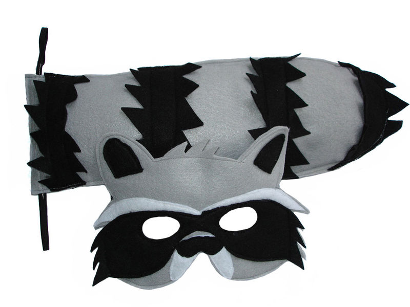 Children's Woodland Animal RACCOON Felt Mask and Tail Set - product images  of