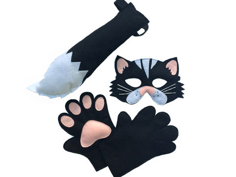 Children's,Animal,Black,CAT,Felt,Costume,Set,Incluidng,Mask,,Tail,and,Matching,Paws,Children, Clothing, Costume, halloween costume, christmas gift, felt mask, kids mask, animal mask, black cat, cat mask, cat tail, cat paws, kids toy, black cat mask, birthday gift, magicalattic