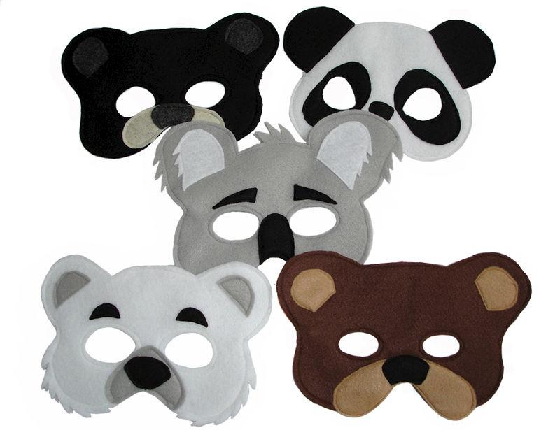 Childrens 5 BEAR Felt Masks Set