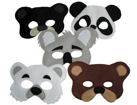 Children's,5,BEAR,Felt,Masks,Set,Children, Clothing, Costume, halloween costume, woodland costume, eco felt, bear mask, raccoon mask, grizzly, magical attic, koala, panda bear, polar bear, black bear, brown bear, magicalattic