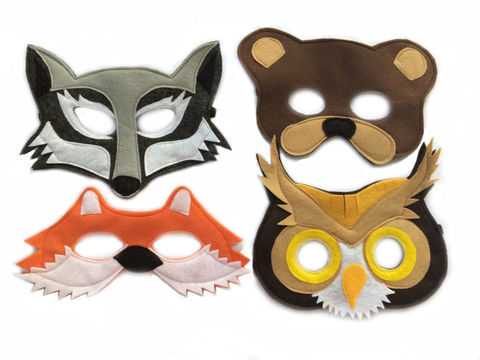 Children's,Woodland,Animals,Felt,Mask,Combo,Set,of,4,Masks,Children, Clothing, Costume, dress up, pretend play, halloween costume, kids mask, woodland costume, eco felt, kids wolf mask, bear mask, fox mask, owl mask, birthday theme, barnyard animal mask, magicalattic