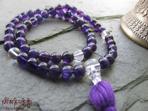 Amethyst,Japa,Mala,with,Crystal,Quartz,Marker,n,Guru,bead,purified,&,blessed,mala,Jewelry,Bracelet,Stone,buddhist_mala,meditation,yoga,prayer_beads,worry_beads,yoga_jewelry,power_bracelet,bracelet,japa_mala,energy_bracelet,amethyst,crystal_quartz,mantras,pure intention,crystal quartz