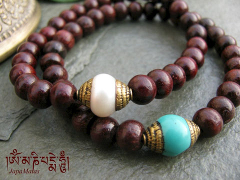 Rosewood,stacking,Bracelet,Mala,with,capped,turquoise,pearl,guru,bead,set,of,2,bracelet,Jewelry,Beadwork,japa_mala_bead,meditation,yoga,prayer_beads,worry_beads,mala,yoga_jewelry,red_sandalwood,rosewood,tibetan,stacking_bracelet,mantras,pure intention,rosewood beads,elastic cord,capped turquoise,capped pearl