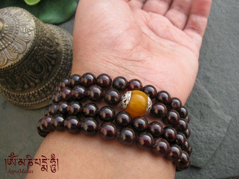 Garnet,wrap,bracelet,or,necklace,mala,with,tibetan,amber,guru,bead,purified,&,blessed,mala.,Jewelry,Bracelet,Wire_Wrapped,garnet,wrap_bracelet,boho,108_beads,japa_malas,yoga_jewellery,meditation,zen,gift,stone,christmas_in_july,elastic cord,capped amber,mantra,pure intention