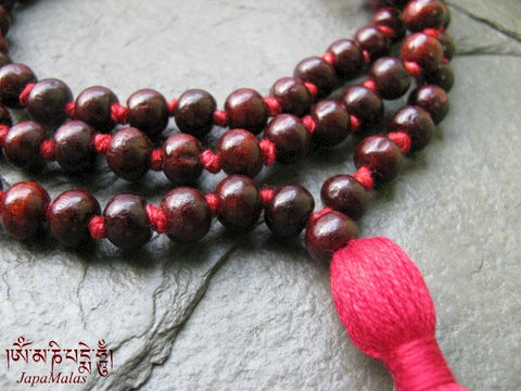 Hand,Knotted,Rosewood,Japa,Mala,108,beads,mala,purified,&,blessed,Everything_Else,Religious,Prayer_Beads,japa_mala_bead,108_beads,hindu,buddhist_mala,meditation,yoga,zen,prayer_beads,worry_beads,yoga_jewelry,red_sandalwood,christmas_in_july,sandal wood beads,holy thread,mantras,pure intention