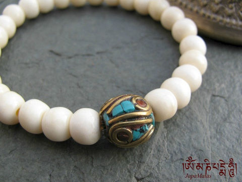 Bone,Bracelet,Mala,with,turquoise,and,coral,chip,decorated,guru,bead,mala,Jewelry,Beadwork,japa_mala_bead,buddhist_mala,meditation,yoga,zen,prayer_beads,worry_beads,buddha,tibet,buddhism,pocket_mala,bone_mala,holy thread,mantras,pure intention,bone