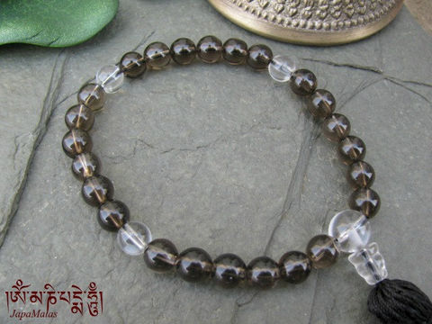 Smoky,Quartz,pocket,Mala,with,crystal,marker,and,guru,bead,purified,&,blessed,mala,Jewelry,Bracelet,Beadwork,buddhist_mala,meditation,yoga,zen,prayer_beads,worry_beads,yoga_jewelry,power_bracelet,bracelet,smoky_quartz,japa_mala,christmas_in_july,mantras,pure intention,smoky quartz
