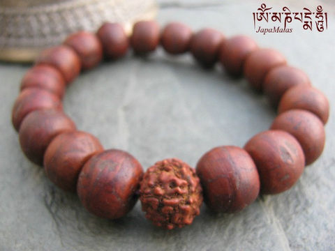 Bodhi,seed,Bracelet,Mala,with,Rudraksha,guru,bead,purified,&,blessed,mala,Jewelry,Beadwork,japa_mala_bead,buddhist_mala,meditation,yoga,zen,prayer_beads,worry_beads,buddha,bodhi,buddhism,pocket_mala,bracelet,mantras,pure intention,bodhi seed,rudraksha,elastic cord