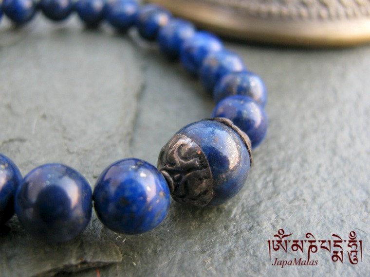 lapis lazuli bracelet mala with capped lapis guru bead