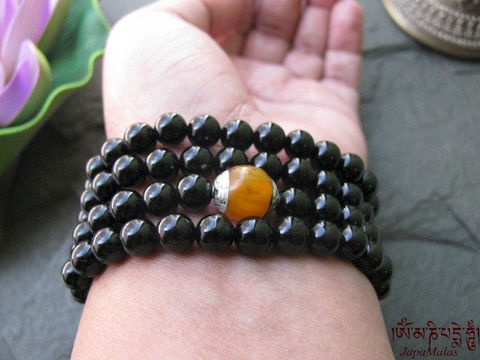 Black,Onyx,wrap,bracelet,or,necklace,mala,with,tibetan,amber,guru,bead,purified,&,blessed,mala.,Jewelry,Bracelet,Wire_Wrapped,wrap_bracelet,boho,108_beads,japa_malas,yoga_jewellery,meditation,zen,gift,stone,black_onyx,reiki,elastic cord,capped amber,mantra,pure intention,onyx