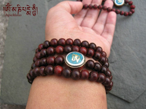 Rosewood,Wrap,Bracelet,Mala,with,Om,guru,bead,purified,&,blessed,mala,Jewelry,Beadwork,yoga,worry_beads,yoga_jewelry,red_sandalwood,rosewood,bracelet,tibetan,japa_malas,108_beads,wrap_bracelet,boho,reiki,mantras,pure intention,rosewood beads,elastic cord,om bead