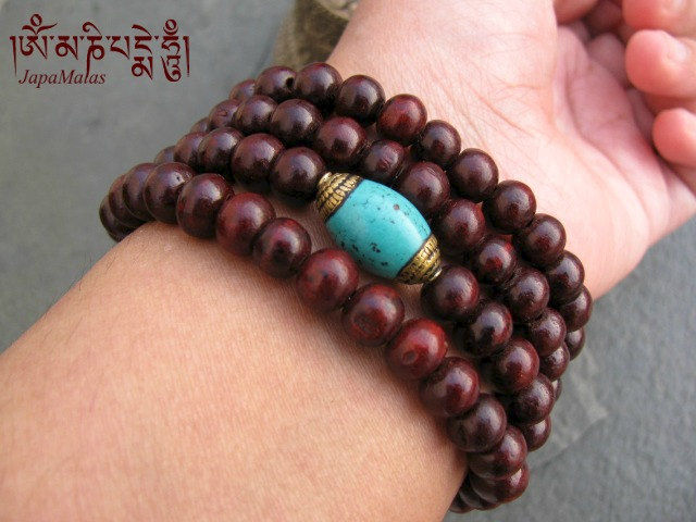 Rosewood Wrap Bracelet Mala With Ced Turquoise Guru Bead Purified Blessed Product Images