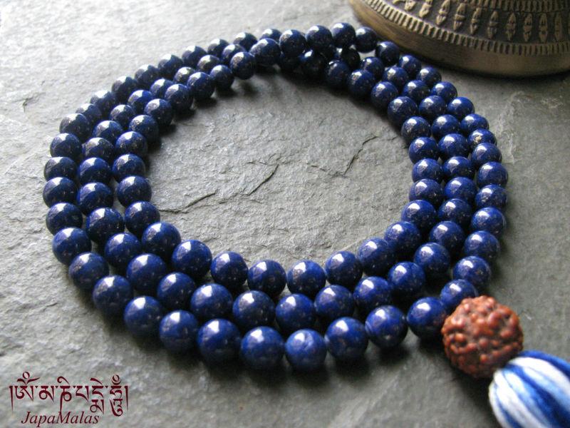 lapis lazuli japa mala with rudraksha guru bead purified
