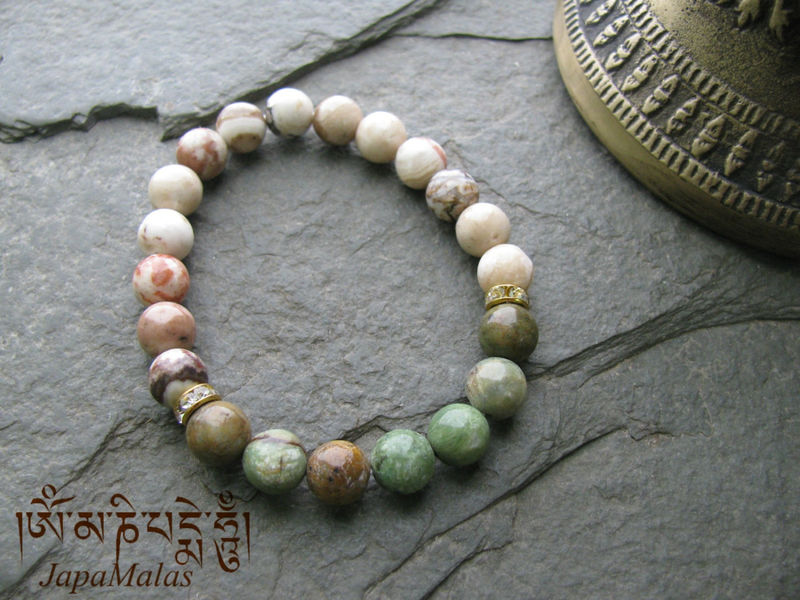 Green Opal And Crazy Lace Agate Bead Bracelet Mala Wrist Healing Product