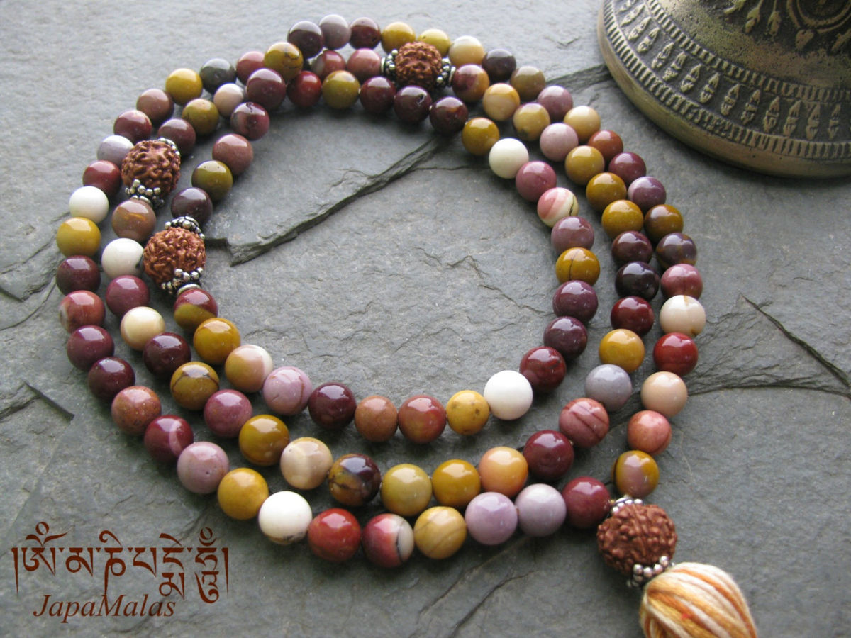 mookaite jasper japa mala with rudraksha guru bead