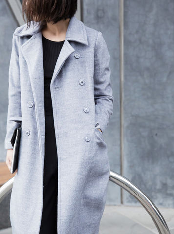 Light,Grey,Long,Coat,long coat, grey coat, slim fit coat,