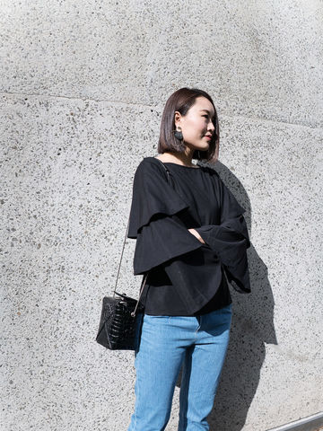 Black,Layered,Sleeve,Top,top, layered sleeve top, black top,