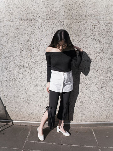 B,&,W,Mixed,Off,Shoulder,Top,top, off shoulder, black and white top
