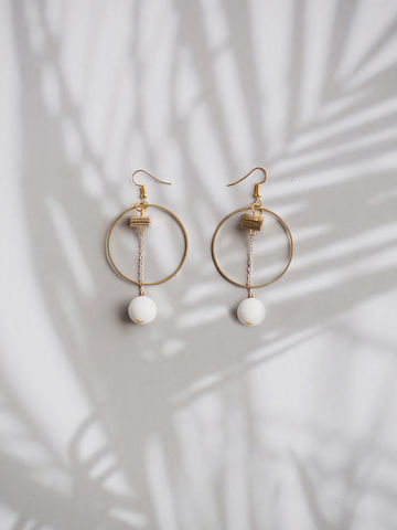 White,Stone,Earring,earring, gold earring, accessories, accessory