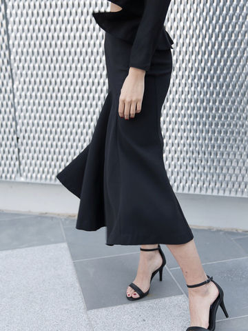 Black,Godet,Skirt,black skirt, midi length skirt, skirt, low hem skirt, back zipper skirt