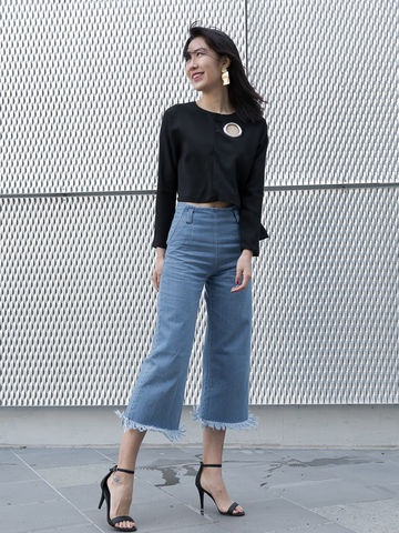 High,Waisted,Culottes,Jeans,jeans, Culottes, high waist jeans, culotte jeans