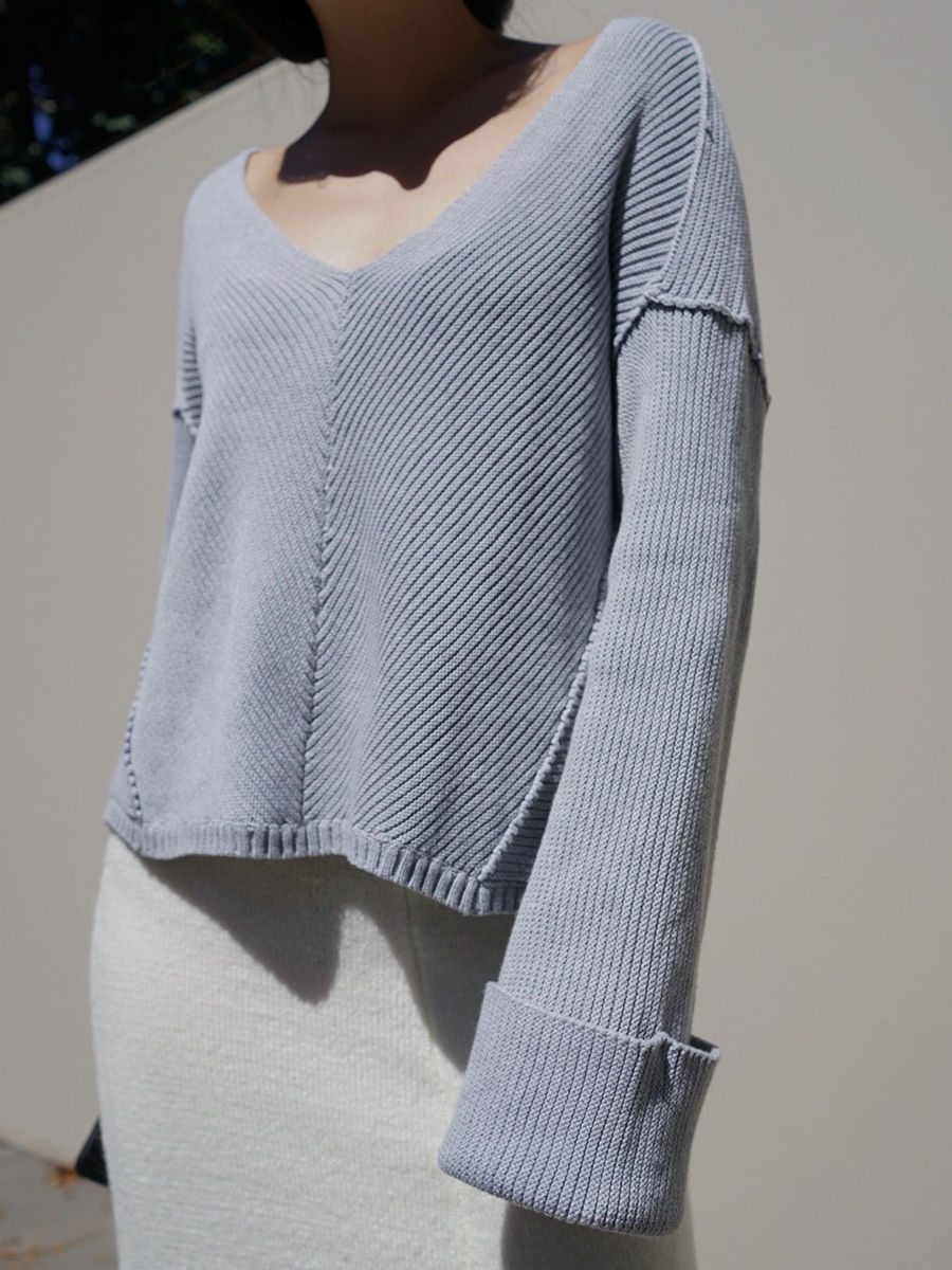 V - Neck Grey Knit - product images  of