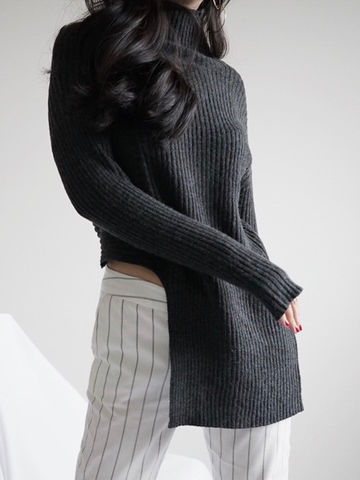 Dark,Grey,High,Neck,Knit,dark grey Knit, high neck Knit, knitwear,