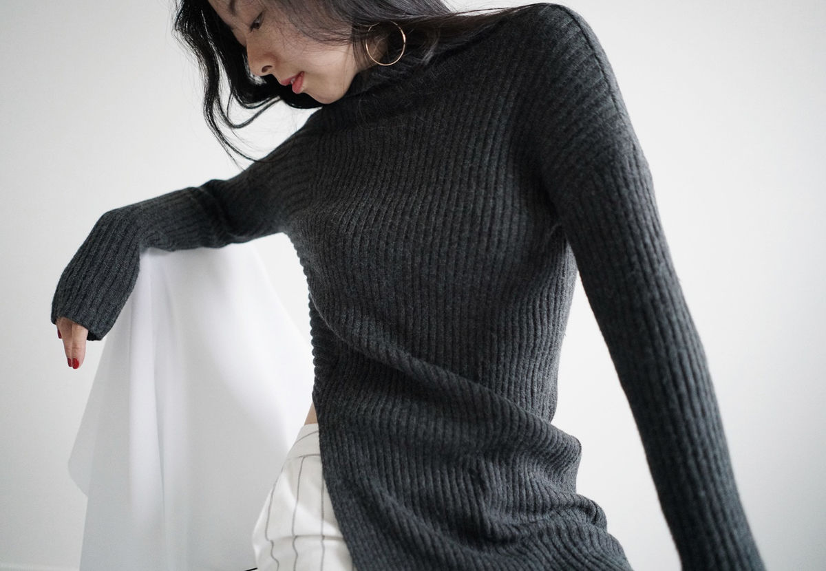 Dark Grey High Neck Knit - product images  of