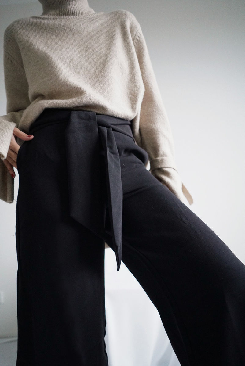 Black Front Tie Culottes  - product images  of