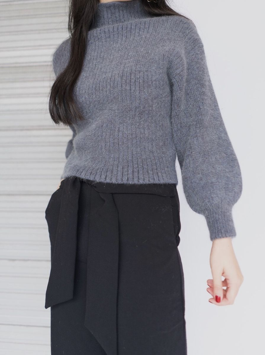 Grey High Neck Knit - product images  of