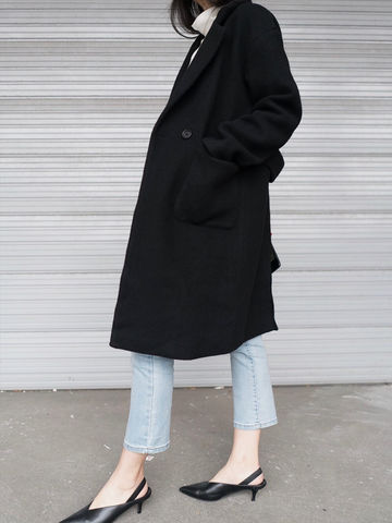 Half,Belt,Coat,coat, black coat, belted coat, back split coat, winter coat,