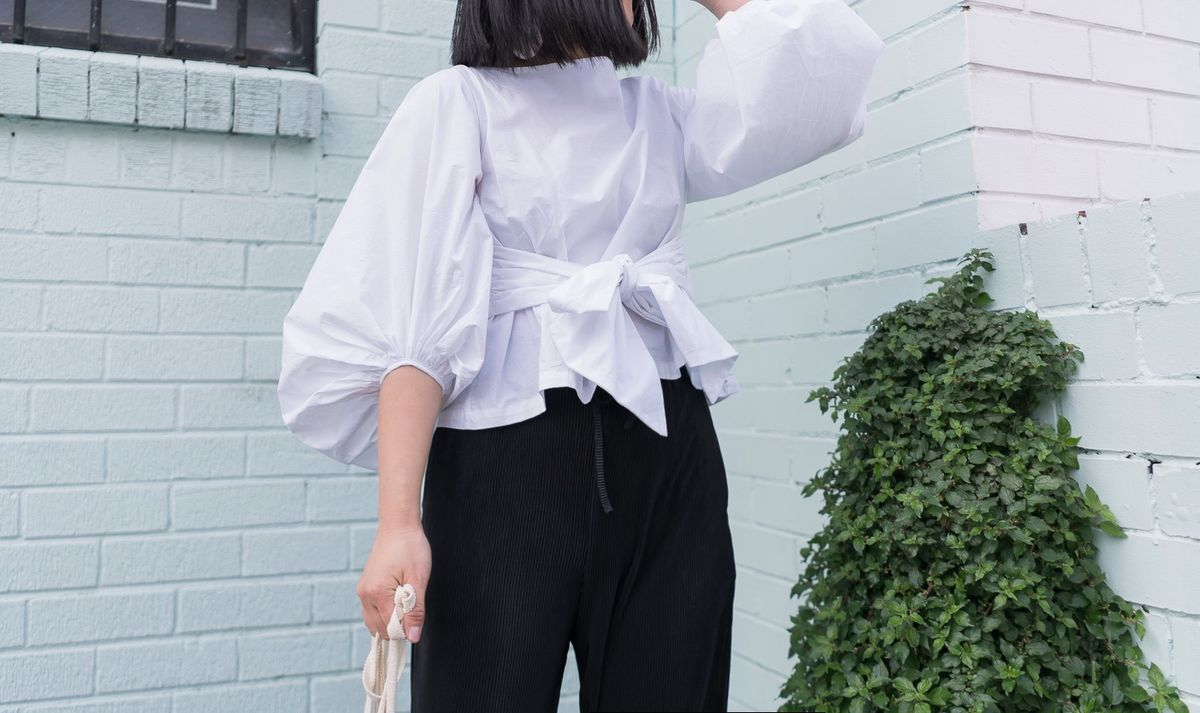 White Puff-sleeve Crop Top - product images  of