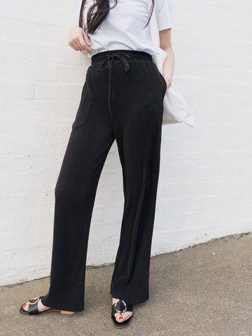 Black,Pleated,Culottes