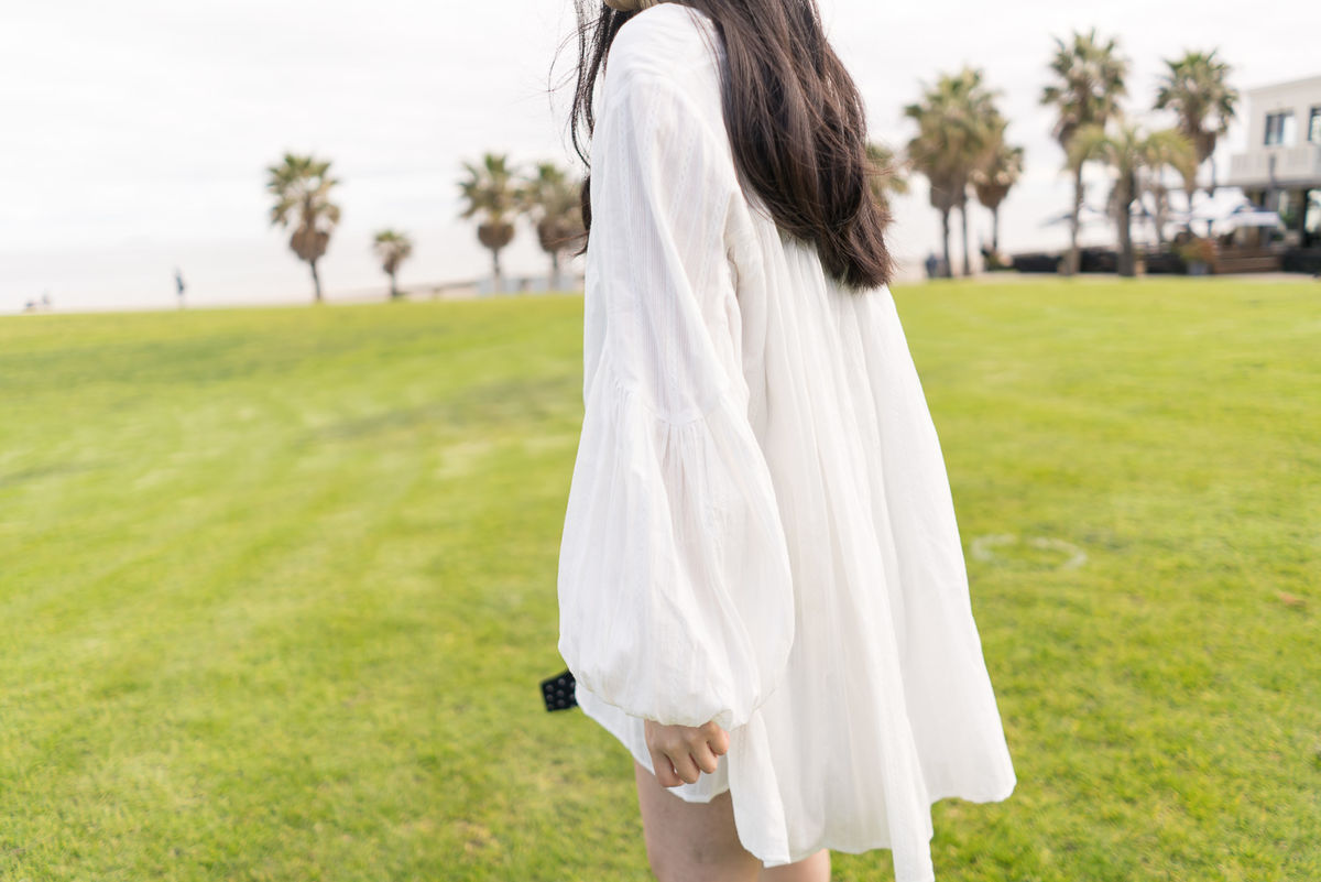 White Balloon Sleeve Dress  - product images  of