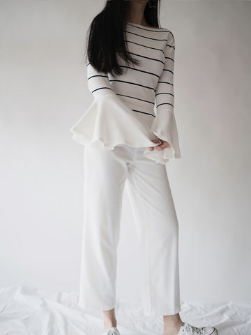 Stripe,Bell,Sleeve,Knitwear