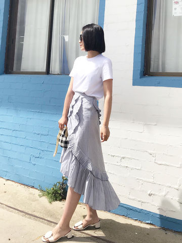 Open,Front,Midi,Skirt,shirt, midi skirt, open front skirt, layered skirt