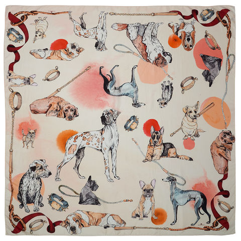THE,GOOD,BOY,,DOG,SQUARE,SCARF,The good boys (& girls) include; Basset Hound's dog (Wallace Hound & Lell Hound - from Klements), Great Dane, French Bull dog, Chiwawa, Scotty dog, Rehomed rescue dog, Grey hound, Red setter, St Bernard,  Alsation, German Sheperd & wiry Ted.