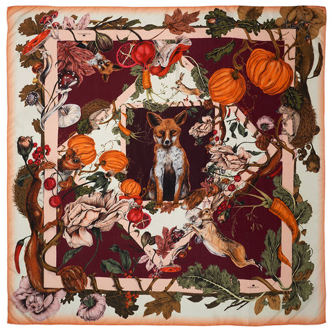 BRITISH,GARDENS,SQUARE,SCARF,kew gardens vegetable patch fox hare squirell pumpkin fig mushroom