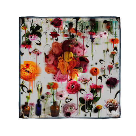 BLEEDING,MAY,MEDIUM,SQUARE,SCARF,flowers melting explosions luxury silk made in Italy