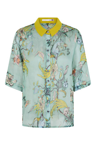 MILDRED,SHIRT,IN,KANAGROO,PRINT,short sleeve shirt silk chiffon made in england freaks skeleton parrot cactus print