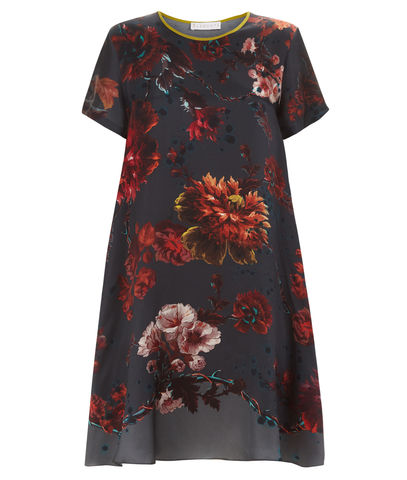 Frieda,Dress,in,Gothic,Floral,Print,(Petrol),gothic floral shift dress made in england