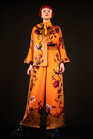 Escapist,Shirt,in,Gothic,Floral,Print,(Ochre),shirt silk made in england