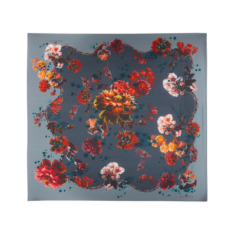 Medium,scarf,in,Gothic,Floral,print,(petrol),painted flower floral large scarf made in italy