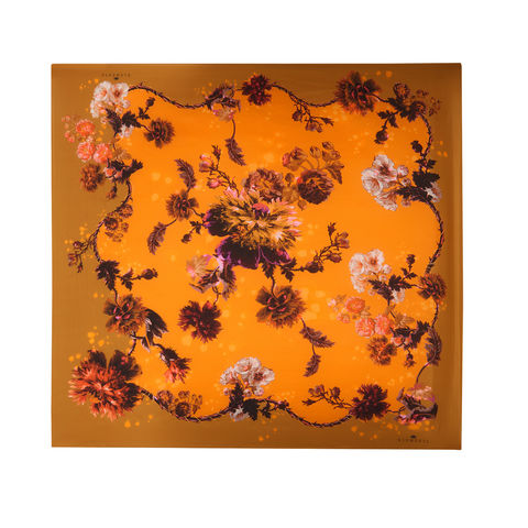 Medium,scarf,in,Gothic,Floral,print,(ochre),painted flower floral large scarf made in italy