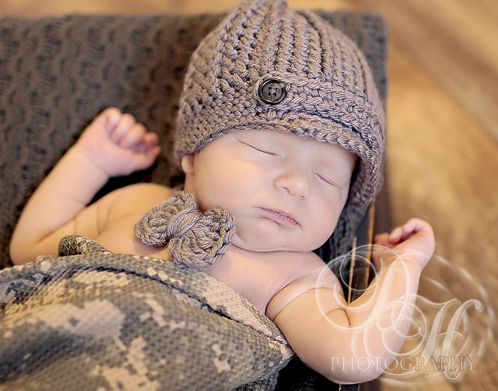 Baby Boy Crochet Hat, Newborn Newsboy Hat - product images  of