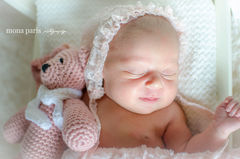 Newborn,Lace,Bonnet,Newborn Lace Bonnet, Simple Bonnet, Newborn Photo Prop, Baby Girl, Photography props