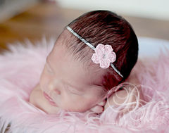 Baby,Girl,Headband,,Pink,,Newborn,baby_headband,crochet_headband,baby_girl_headband,flower_headband,head_bands,baby_headbands,newborn_headband,headband,newborn_photo_prop,ready_to_ship,dainty_headband,cute_baby_headband,mini_flower_headband,mercerized cotton