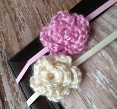 Newborn Headband, Crochet Flower Headband - product images 1 of 5