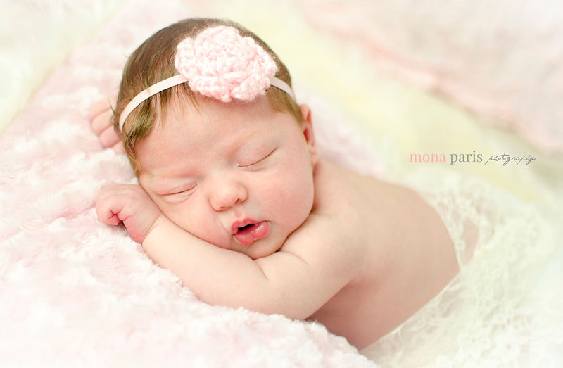 Newborn Headband, Crochet Flower Headband - product image
