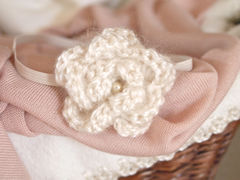 Newborn Headband, Crochet Flower Headband - product images 5 of 5
